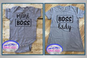 Boss Lady/Mini Boss Ladies Fitted T Shirt & Infant Bodysuit for Mother & Daughter