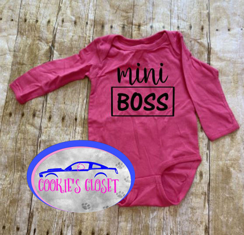 ***CLEARANCE***  Mini Boss Infant Pink Short or Long Sleeve Bodysuit