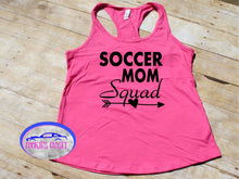 Load image into Gallery viewer, Soccer Mom Squad Ladies Raceback Tank Top