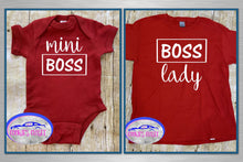 Load image into Gallery viewer, Boss Lady/Mini Boss Adult Unisex T Shirt & Infant Bodysuit for Mother & Daughter