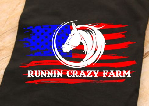 Runnin Crazy Farm Logo Youth or Adult Black T Shirt, Sweatshirt or Pullover Hoodie