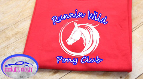 Runnin Wild Pony Club Logo Youth or Adult Red T Shirt