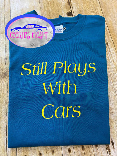 ****CLEARANCE**** Adult Green/blue Medium Still Plays with Cars Shirt