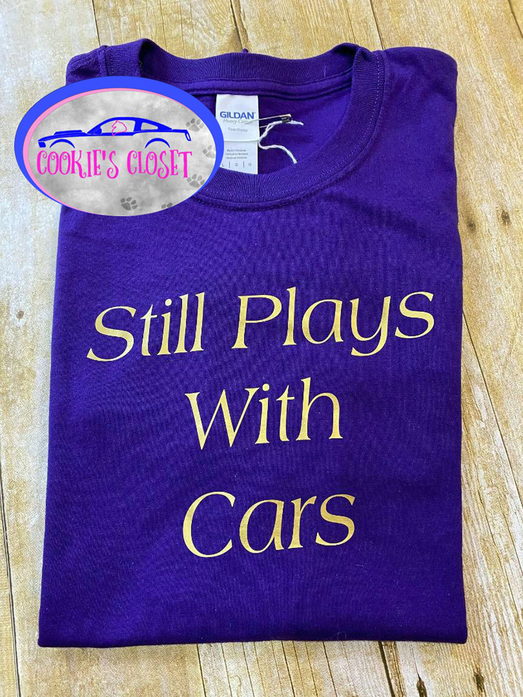 ****CLEARANCE**** Adult Purple Large Still Plays with Cars Shirt