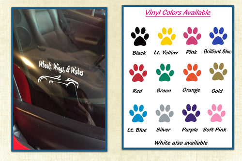 Wheels, Wings & Wishes Car Decal