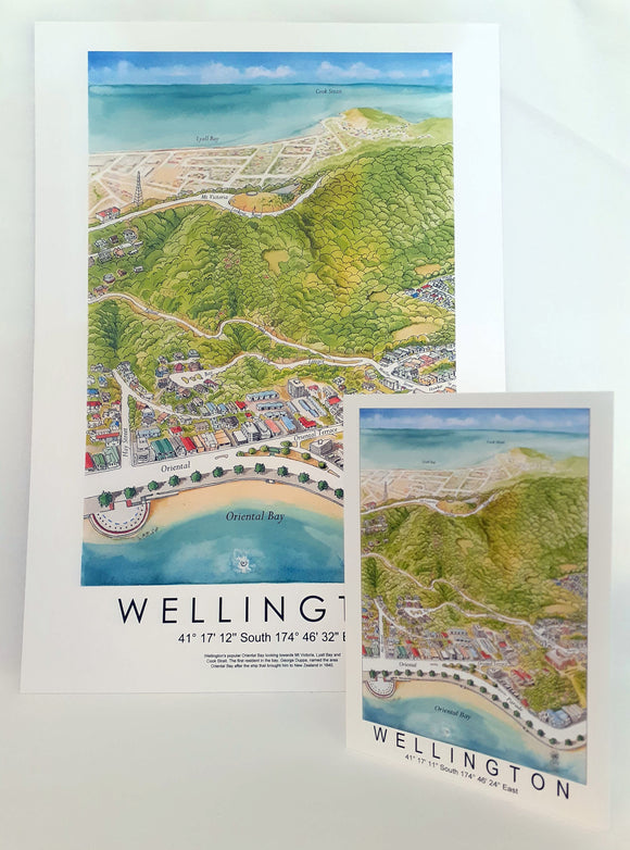 Oriental Bay Map Greeting Card
