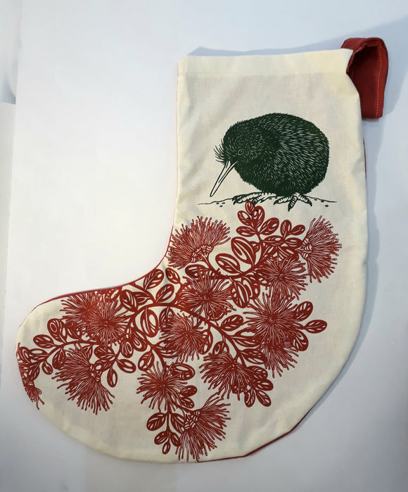 Kiwiana Christmas Stocking (Hand Screenprinted)