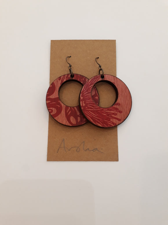 Wooden Pohutukawa Earrings