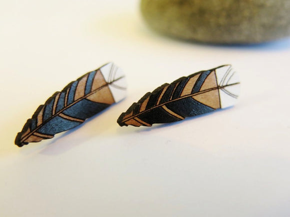 Huia Feather Studs (Reclaimed Rimu)