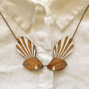 Double Fantail Necklace (Reclaimed Rimu)