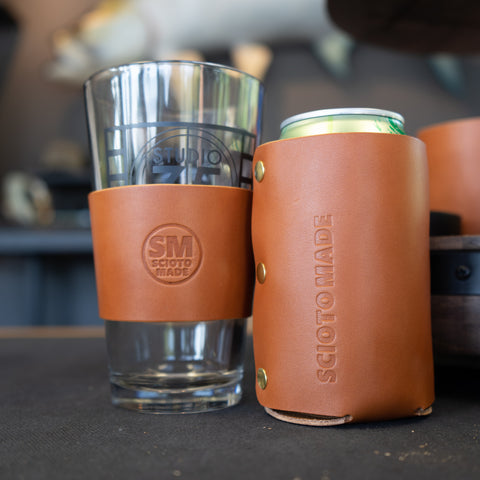 The Shop- Scioto Made Retail Location Seel Made Leather Koozie Pint Sleeve