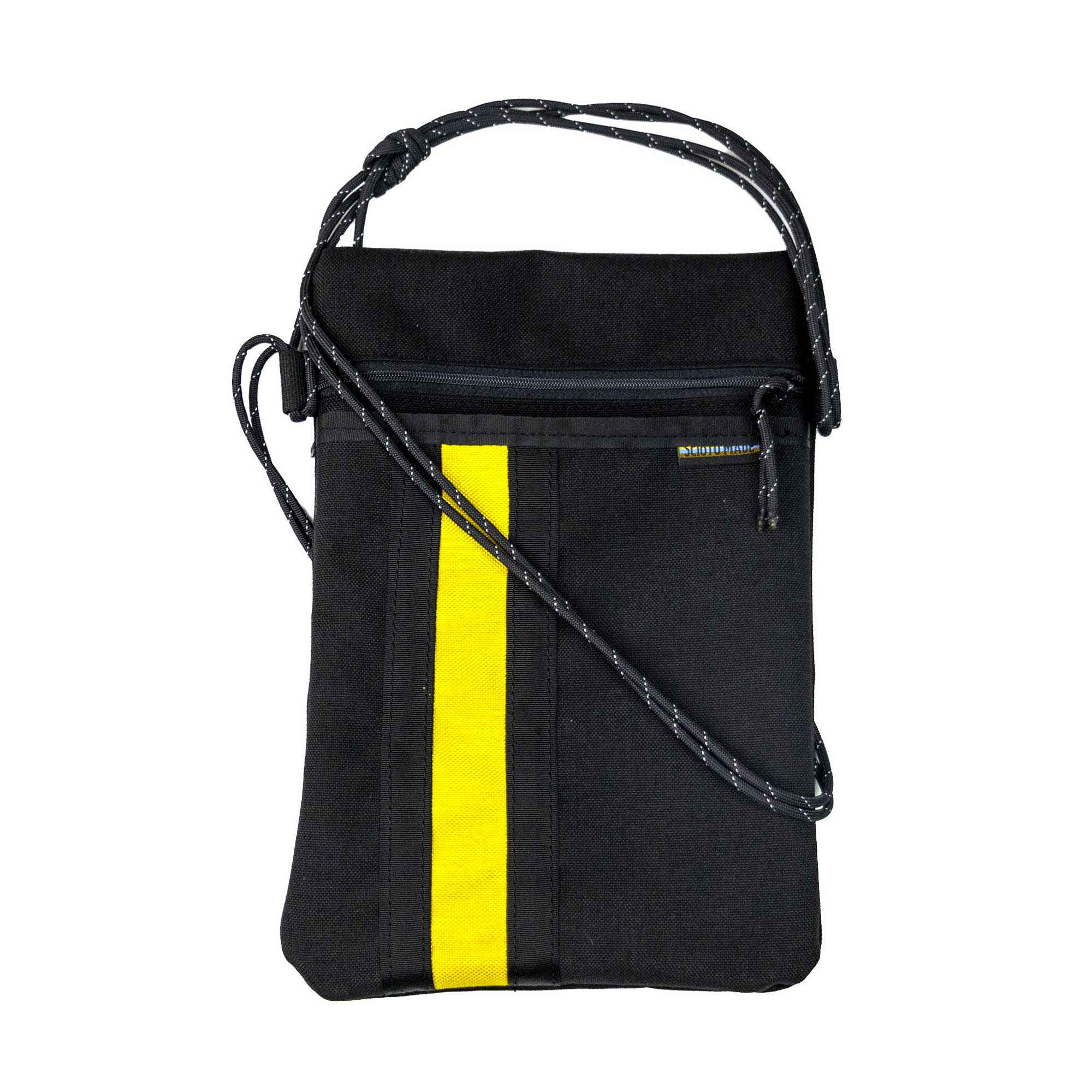 Scioto Made crossbody bag xover black yellow stripe front view 01