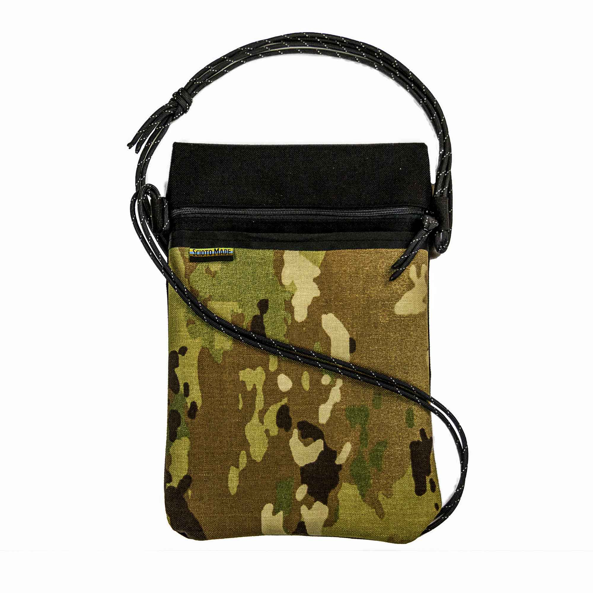 Scioto Made crossbody bag xover camo black front view 01