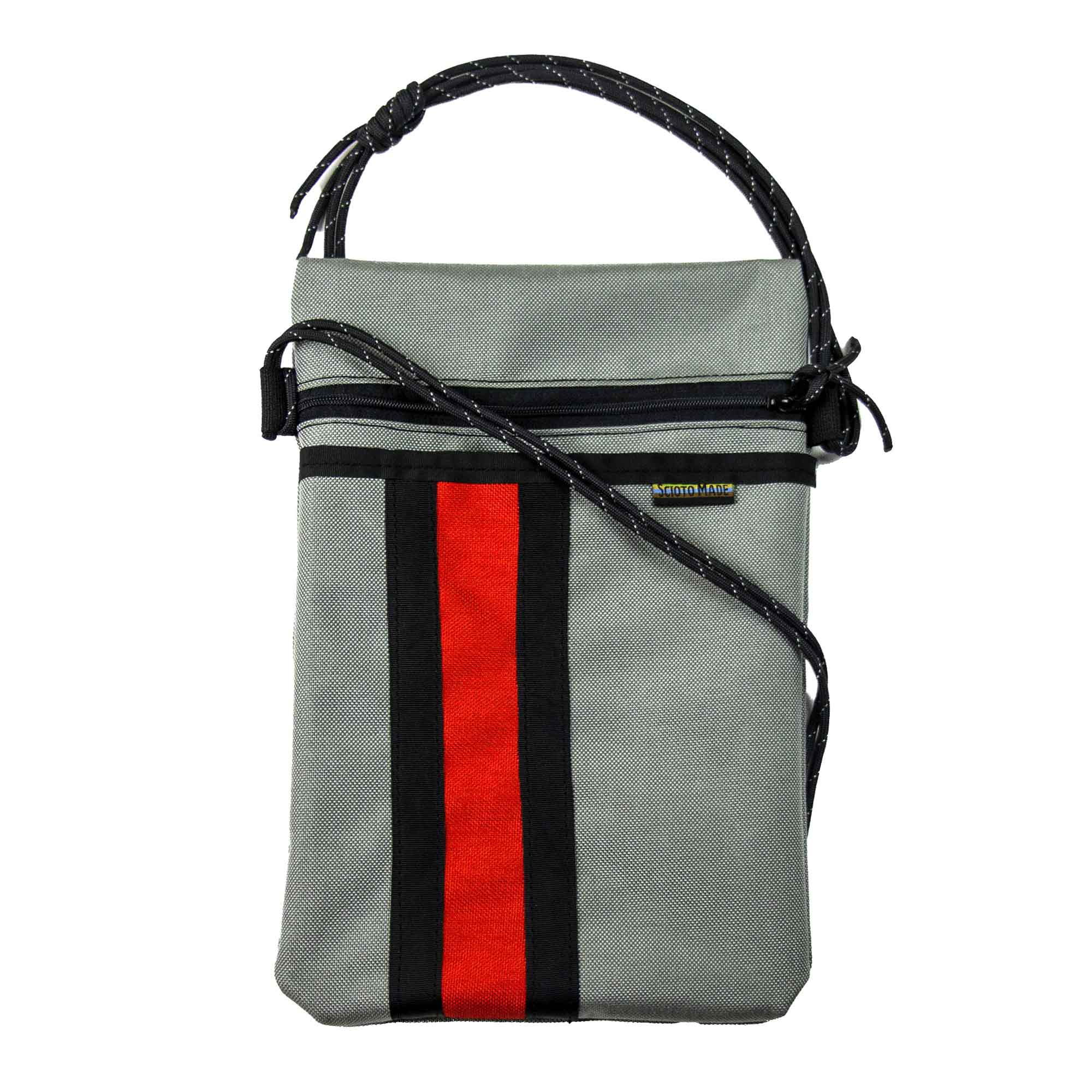 Scioto Made crossbody bag xover gray red black stripe front view 01