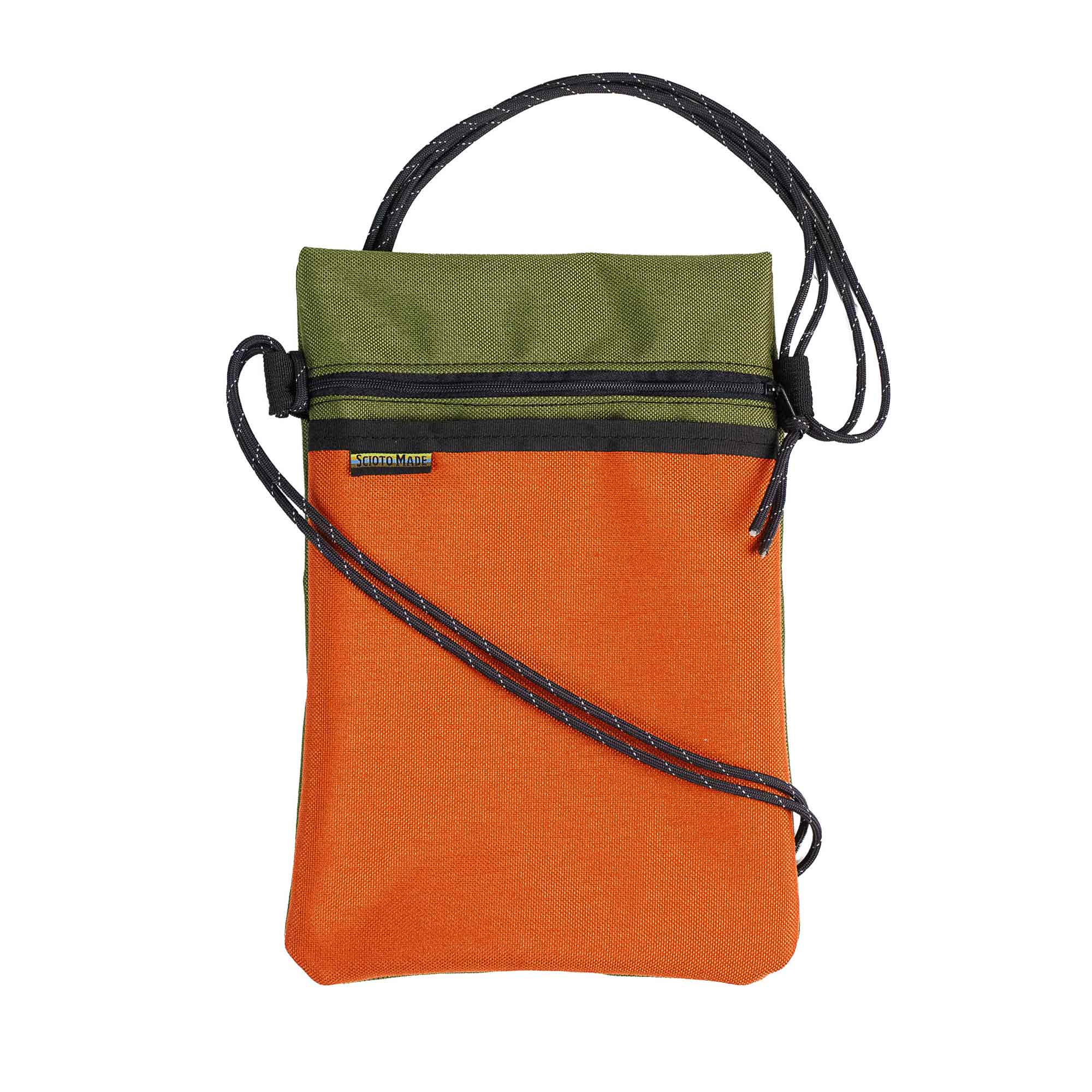Scioto Made crossbody bag xover orange olive front view 01