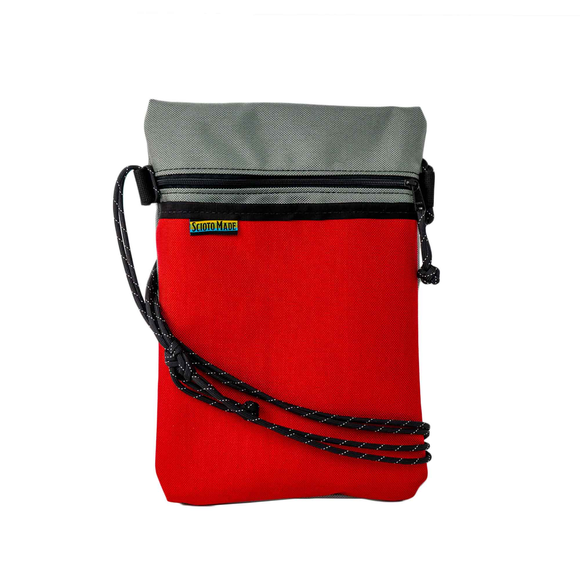 Scioto Made crossbody bag xover red gray front view 01