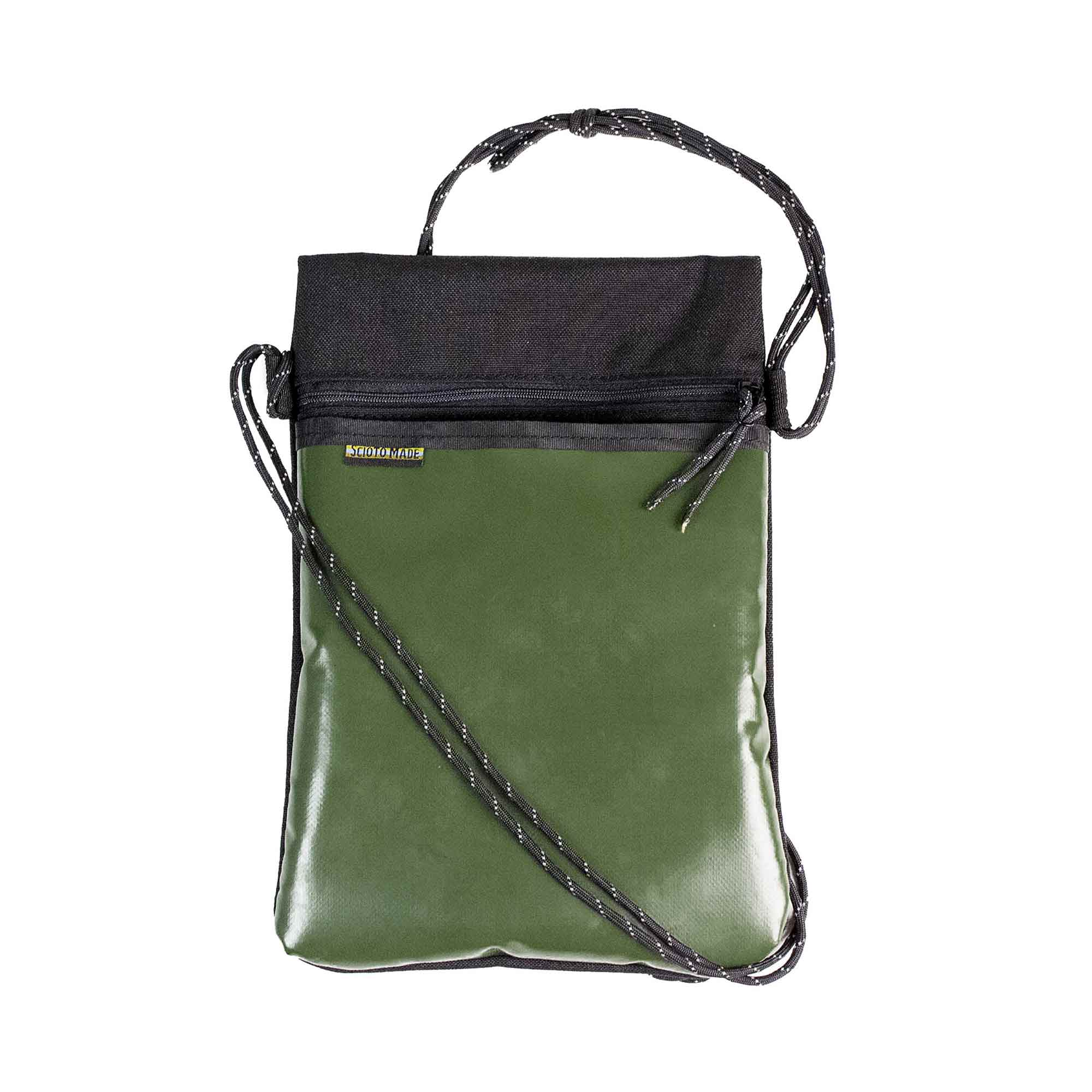 Scioto Made crossbody bag xover upcycled olive green army vinyl front view 01