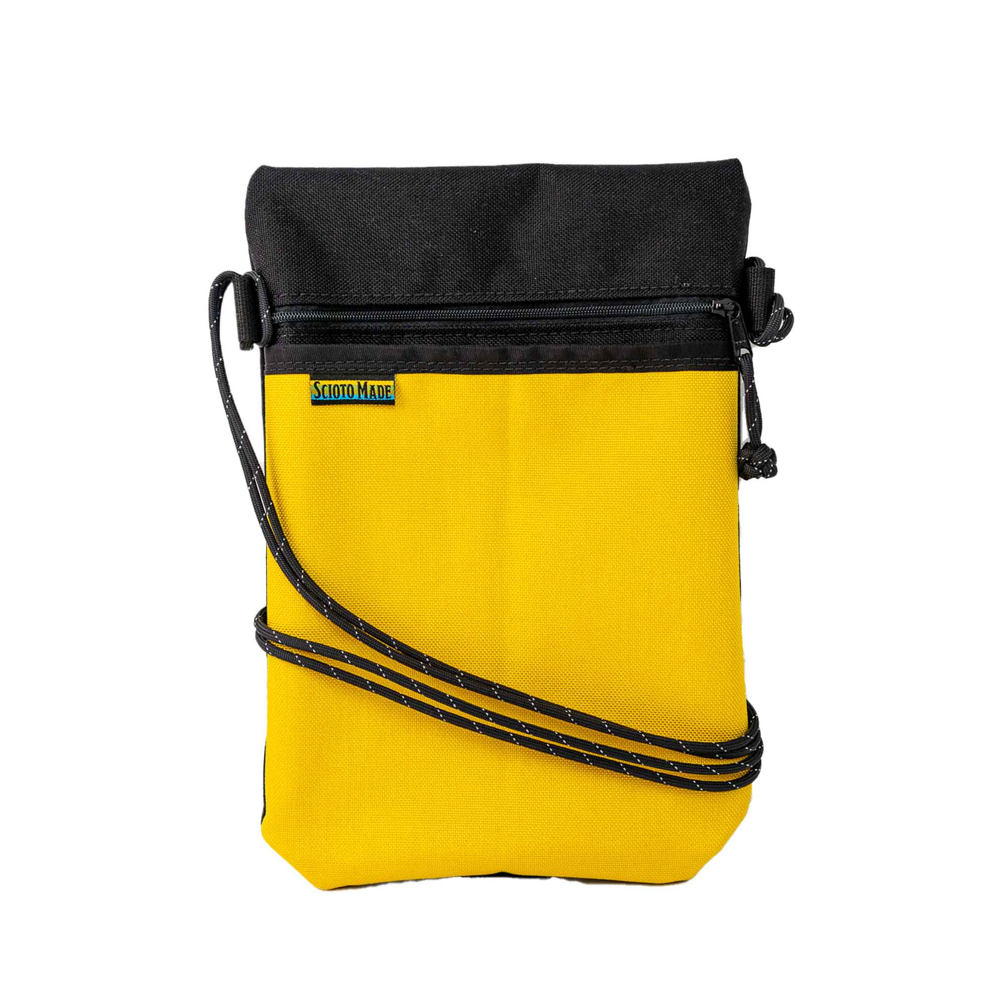 Scioto Made crossbody bag xover yellow black front view 01