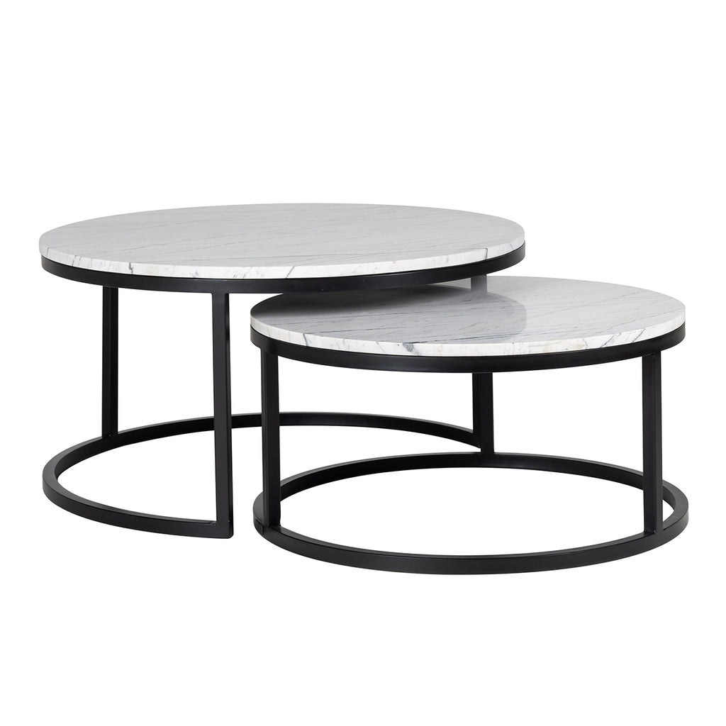 Dubbele ronde Salontafel Lexington - Set van 2 - Wit | Richmond Interiors
