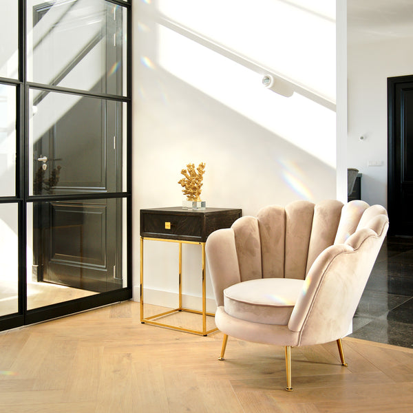 Eiken Nachtkastje Blackbone 1-lade - Goud | Richmond Interiors
