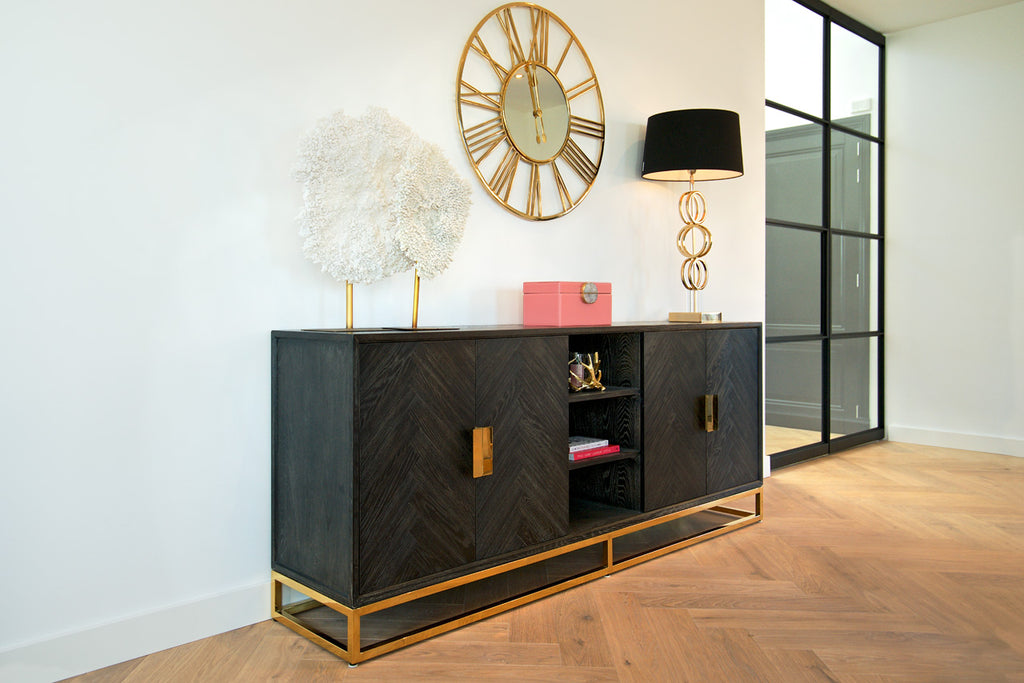 Eiken Dressoir Blackbone 4-deuren + Open Vak - Goud | Richmond Interiors