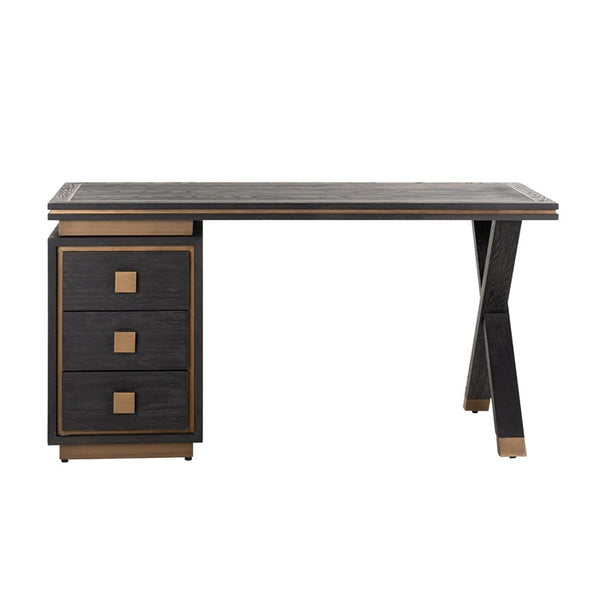 Zwart Bureau Hunter 3-laden 150x60 - Goud | Richmond Interiors