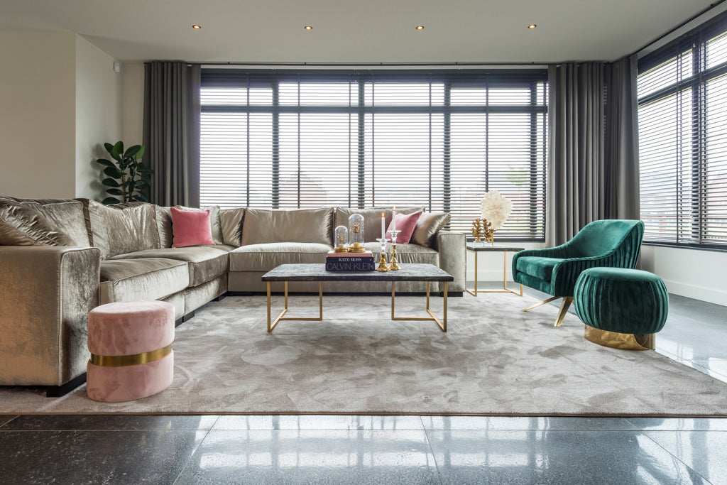 Ronde Poef Faye - Velours - Steengrijs | Richmond Interiors