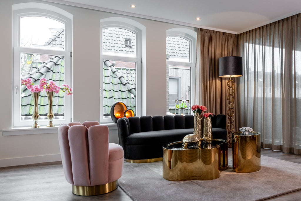 Ronde Fauteuil Mayfair - Velours/ Brushed Goud | Richmond Interiors