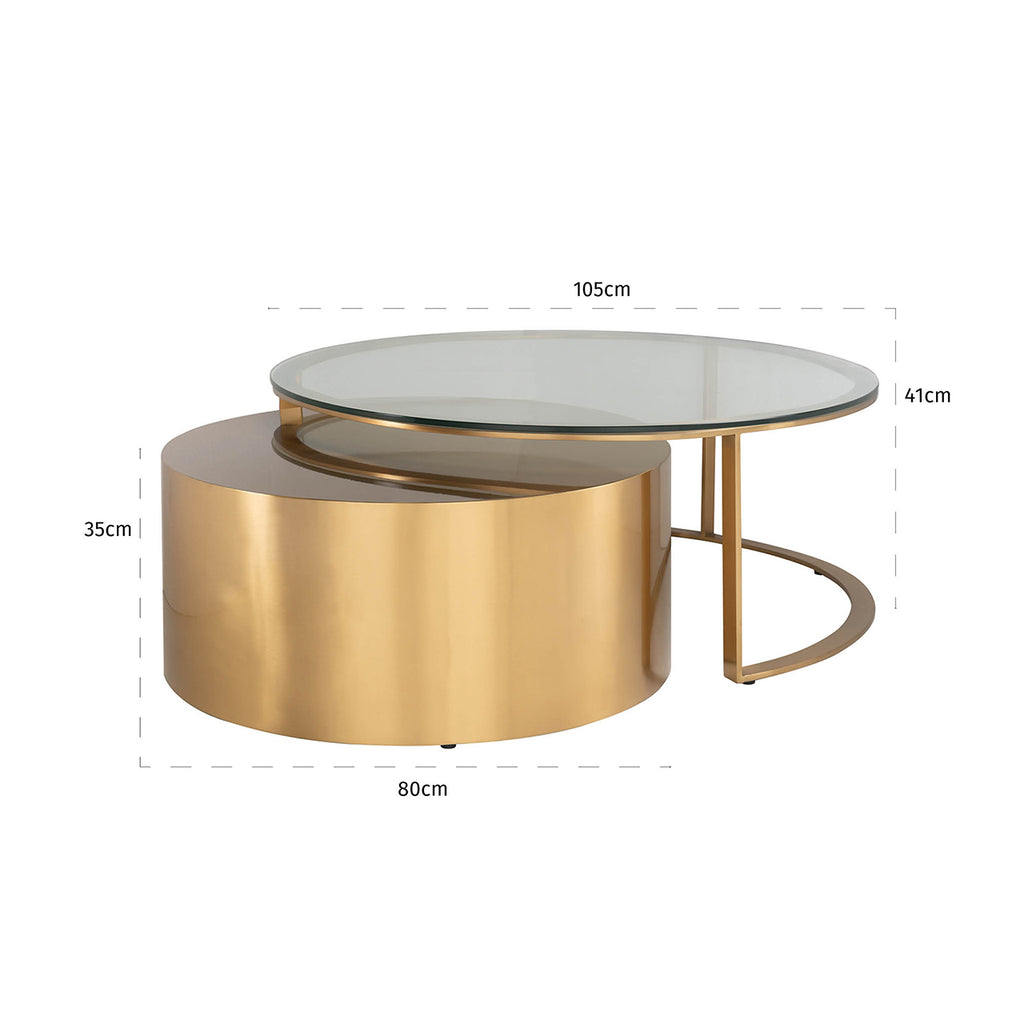 Ronde Salontafel Orlan - Set van 2 - Goud | Richmond Interiors