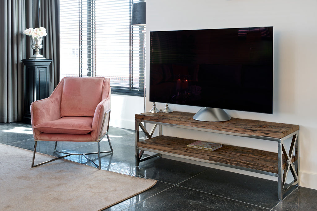 Oud houten TV-dressoir Kensington 2-planken 180 - Zilver | Richmond Interiors