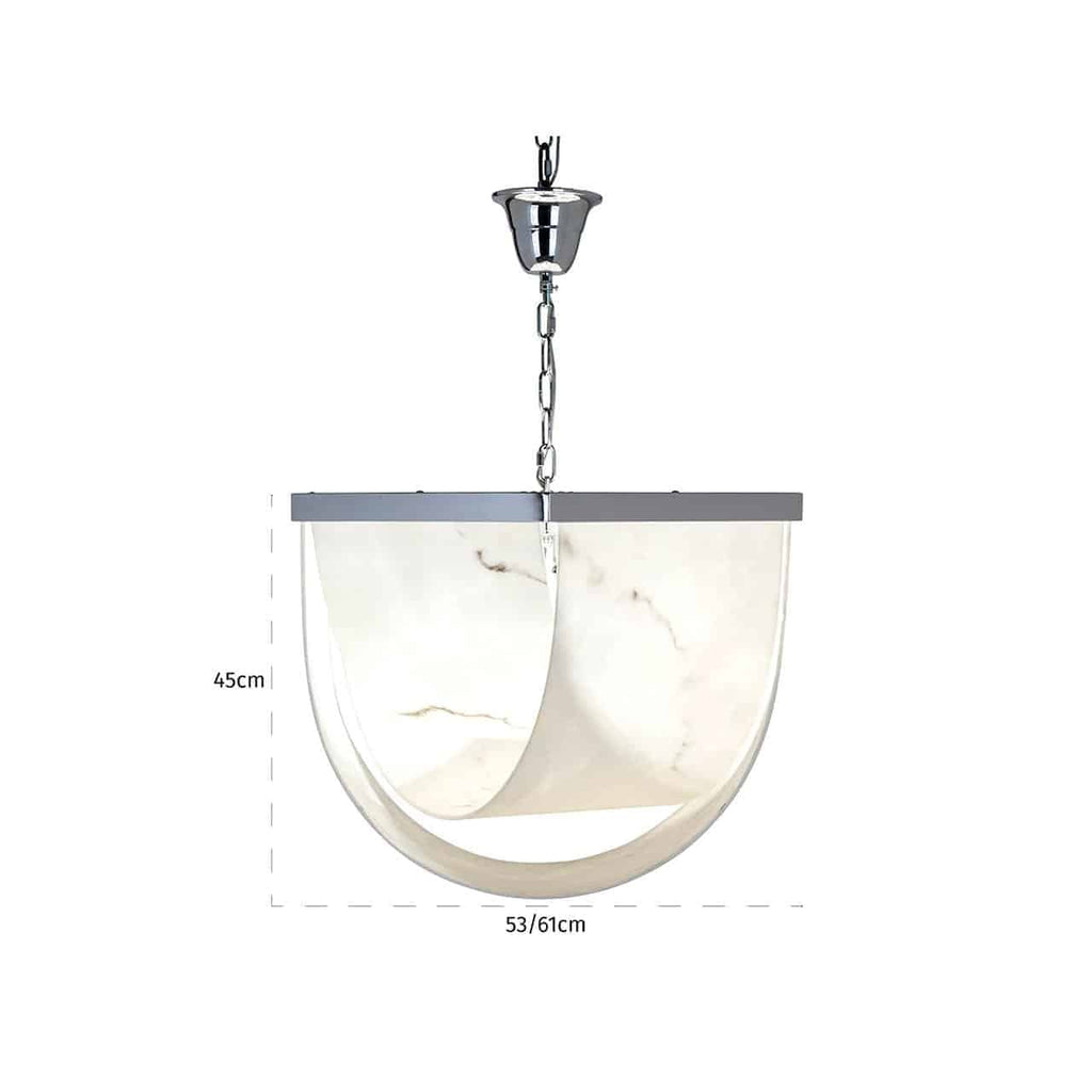 Ronde Hanglamp Colbey marmer look - Zilver | Richmond Interiors