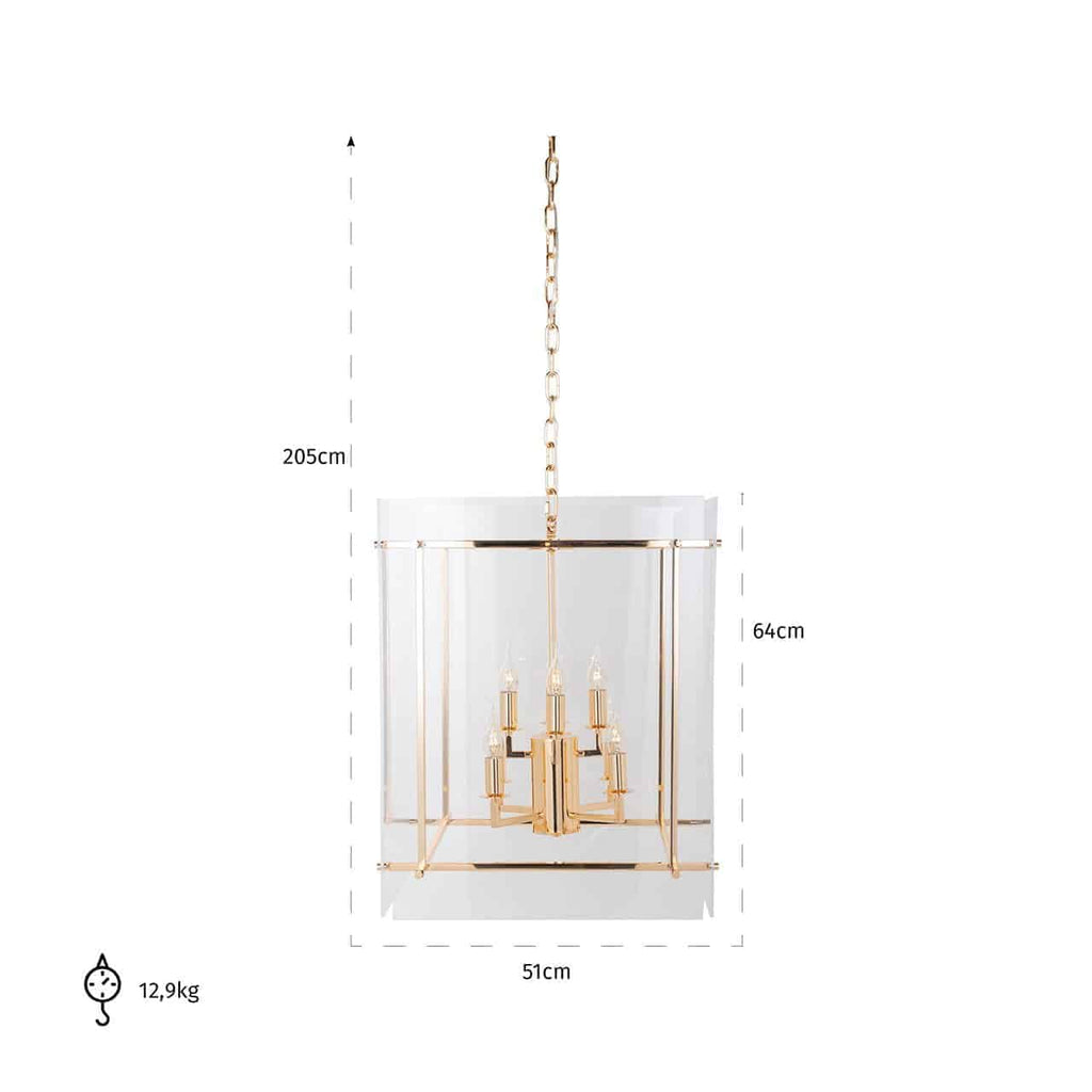 Ronde Hanglamp Chess met acryl - Goud | Richmond Interiors