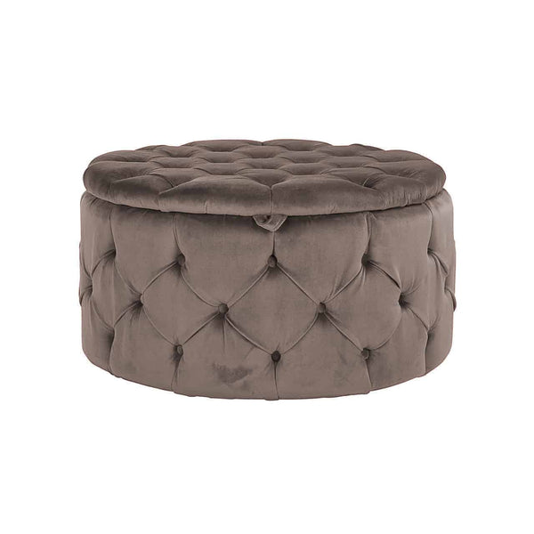 Ronde Poef Lulu 80 cm - Velours - Khaki | Richmond Interiors