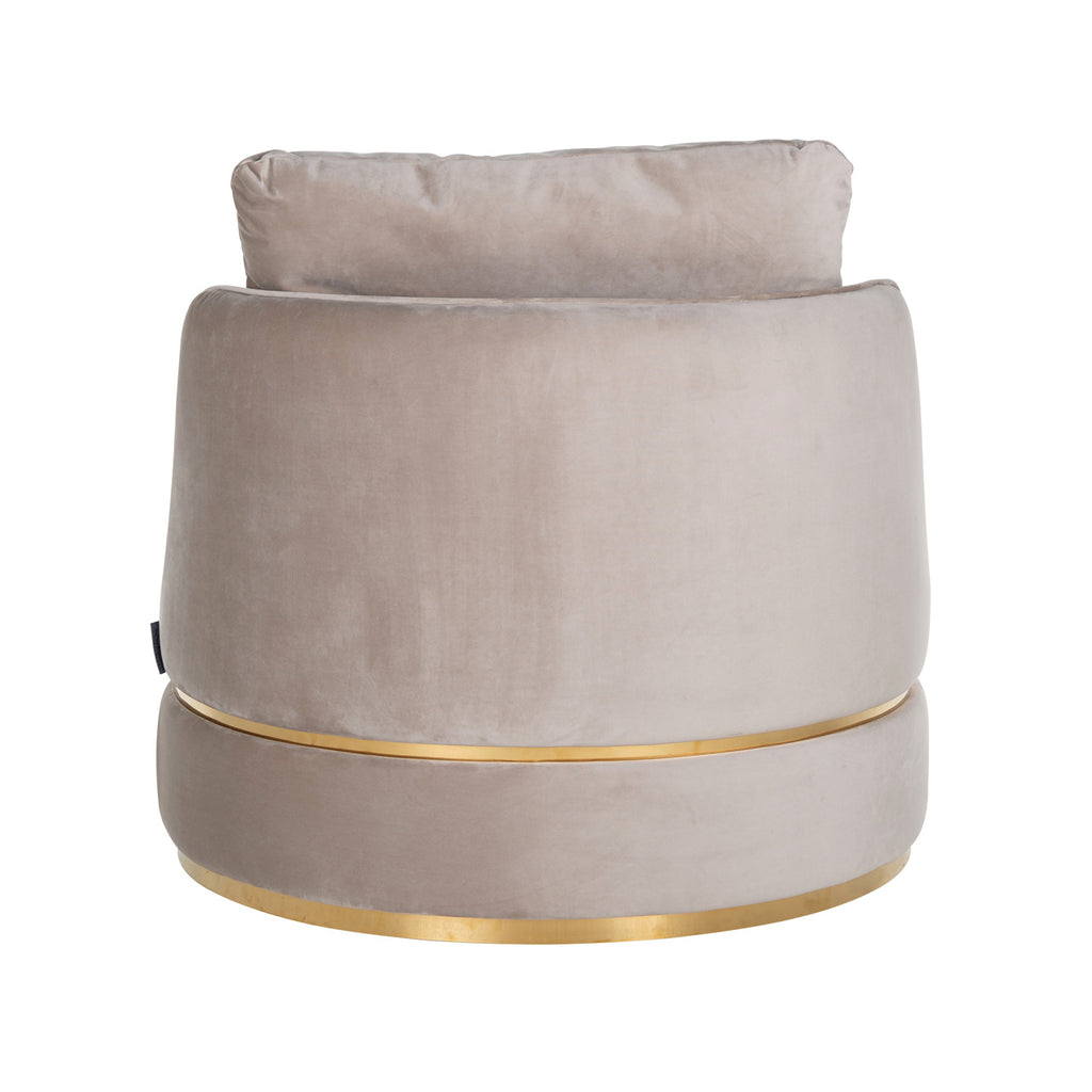Ronde Fauteuil Kylie - Velours/ Brushed Goud | Richmond Interiors