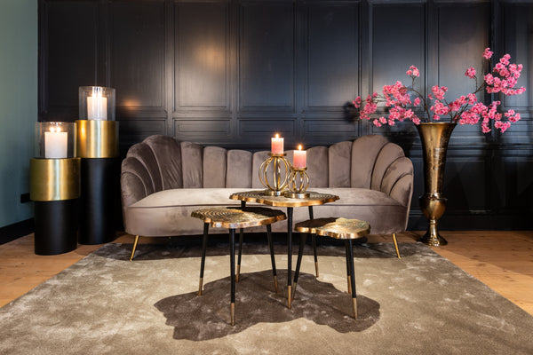 Speelse Bank Cosette 3-zits - Velours/ Goud - Roze | Richmond Interiors