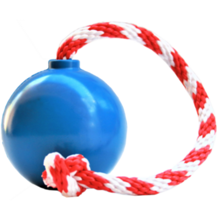 USA K9 Fake Cherry Bomb Blue | Treat Dispensing Fetch & Tug Ball With Rope