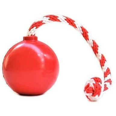 USA K9 Fake Cherry Bomb Red | Treat Dispensing Tug & Fetch Ball With Rope