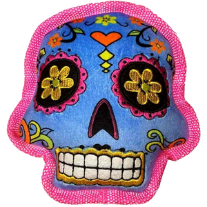 GoDog Sugar Skulls | Safe & Durable Squeaky Plush Dog Toy