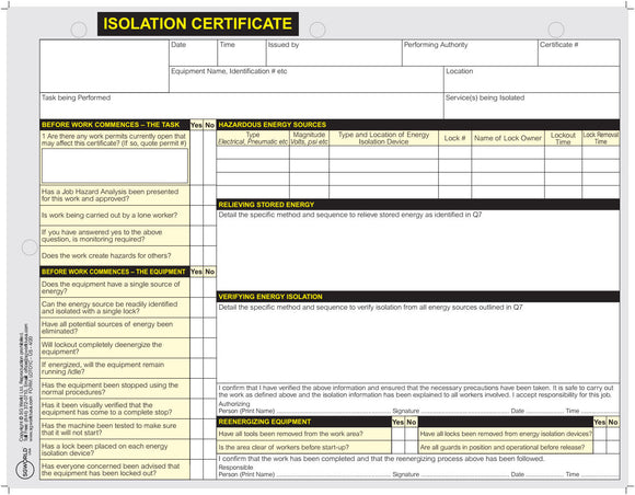 Isolation Certificate
