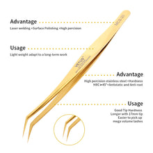Golden Individual and 1D-6D Volume False Lashes Extensions Tweezers Libeauty