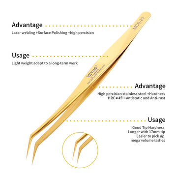 Golden Individual and 1D-6D Volume False Lashes Extensions Tweezers with Premium Storage Case Libeauty