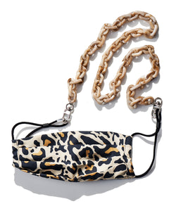 reusable tan leopard mask with filter pocket, brown tortoise mask chain