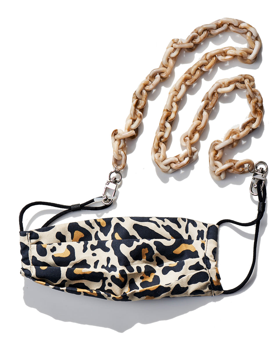 Brown Tortoise Makeda Chain & Tan Leopard Mask