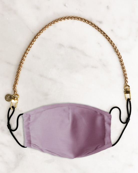 pink reusable face mask with filter pocket, gold mask chain