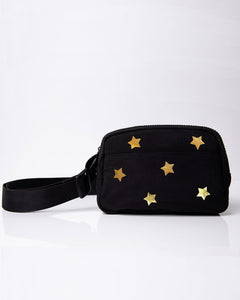 black belt bag with gold stars