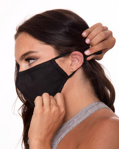 black reusable face mask with filter pocket, adjustable ear loop face mask