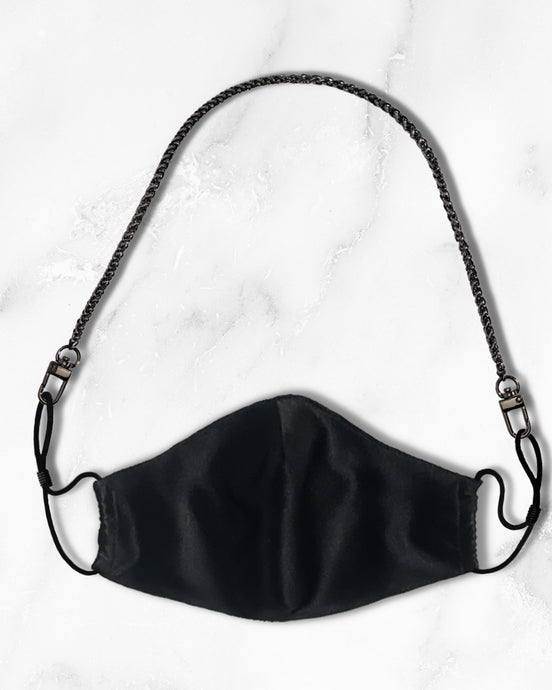reusable black silk face mask with filter pocket, silver mask chain