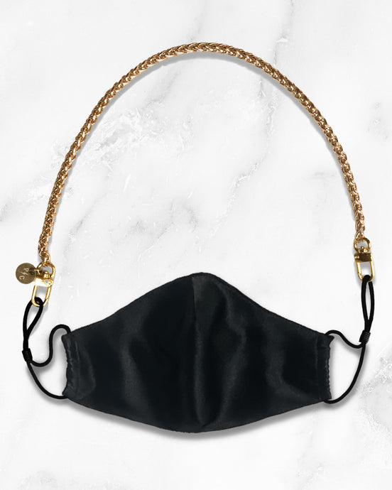 gold mini mask chain, reusable black silk face mask with filter pocket