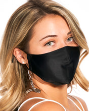 Load image into Gallery viewer, Silver Chain & Black Mulberry Silk Mask