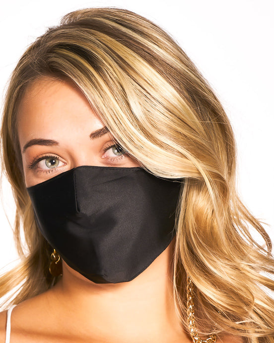 reusable black silk face mask with filter pocket